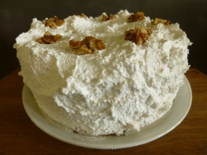 Mary Berry's frosted walnut layer cake